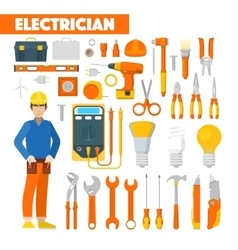 Profession Electrician Icons Set with Voltmeter vector