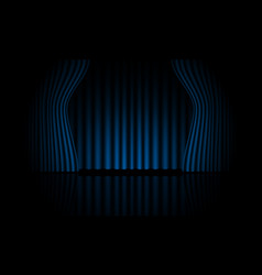 Realistic blue curtain open stage room vector