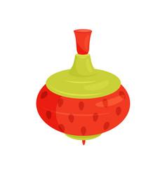 Red-green plastic spinning top vintage children vector
