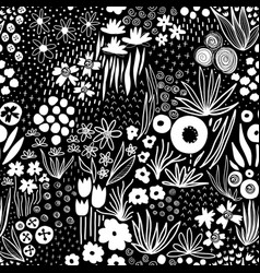 repeating white liberty doodle flower meadow vector image