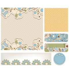 Retro wedding backgrounds floral and dots patterns vector image vector image