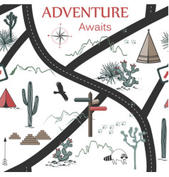roads mountains and cacti adventure seamless vector image