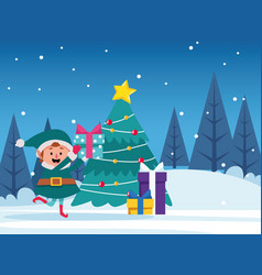 Santas helper with gift boxes and christmas tree vector