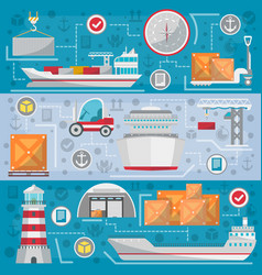 Sea port logistic management set vector