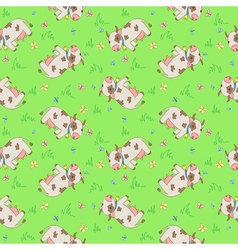 Seamless pattern with cartoon styled cows vector