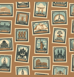 Seamless pattern with postmarks on travel theme vector