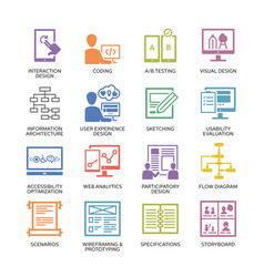 Seo accessibility usability - colored icons set 2 vector