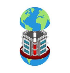 server in earth data center planet internet vector image