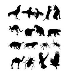 set animal silhouette vector image
