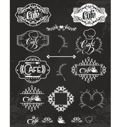 set of cafe labels design elements vector image