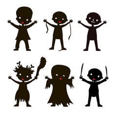 Set of children silhouette in halloween costume vector
