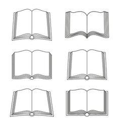 set of open book icons isolated vector image