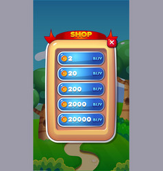 shop mobile game user interface gui assets vector image