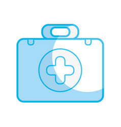 silhouette briefcase with medical symbol and fist vector image