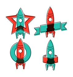 Space rocket symbols vector