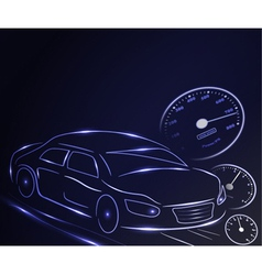 Stylized glowing car vector