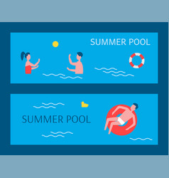 summer pool posters swimming vector image