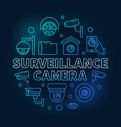 surveillance camera blue circular vector image