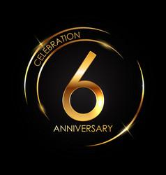 Template 6 years anniversary vector