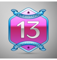 Thirteen years anniversary celebration silver logo vector