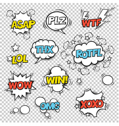 thx asap plz wtf lol rotfl wow win omg xoxo comic vector image vector image