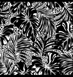 tropical palm monstera leaves with leopard skin vector image