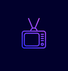 tv icon in flat line style vector image