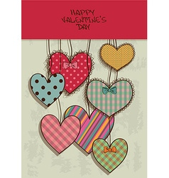 Valentines greeting card with scrapbook hearts vector
