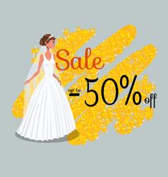 Wedding dress discount banner template vector