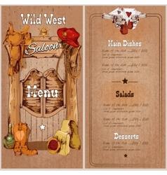 Wild west saloon menu vector image