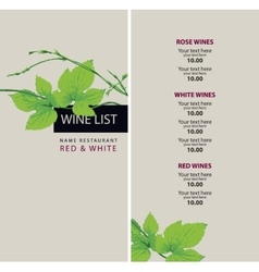 Wine list with a branch of grapes vector