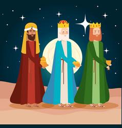 Wise kings manger on desert night scene vector