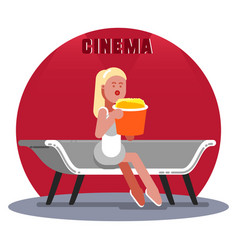 woman waiting for the cinema vector image