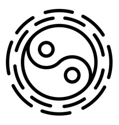 yin yang icon outline style vector image