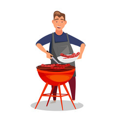 Young man frying barbecue flat color vector
