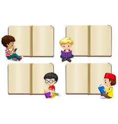 Blank book template with boys reading vector