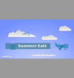 Flying plane with banner copy vector image vector image