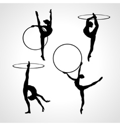 Gymnastic girls with hoops silhouettes collection vector image