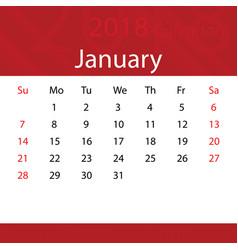 january 2018 calendar popular red premium for vector image