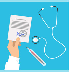 medical stethoscope and hands holding prescription vector image