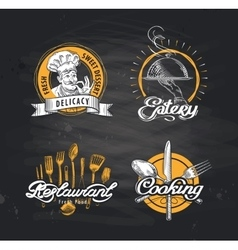 restaurant logo design template cafe or vector image