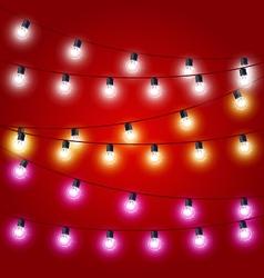 Sagging strung of Christmas Lights - carnival vector image vector image