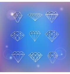 Set of polygonal diamonds vector image vector image