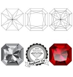 Set of sunflower cut jewel views vector image vector image
