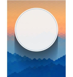 White circle on blue and orange hexagon vector image vector image