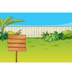 An empty signboard in the garden vector image vector image
