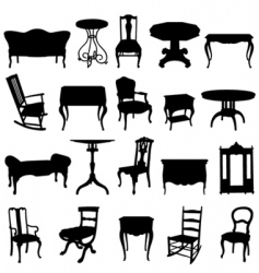 antique furniture's set vector image vector image