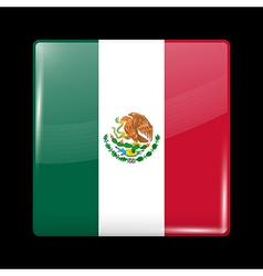 Flag of Mexico Glossy Icon Square Shape vector image vector image