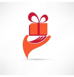 gift in red box icon vector image