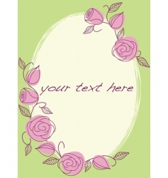 hand drawn frame with roses vector image vector image